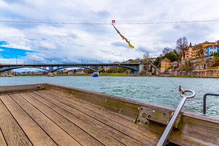 Photo taken from water taxi cable ferry crossing the Rhine in Basel, Switzerland