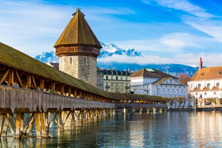 Kapellbrucke historic Chapel Bridge made by wood and waterfront landmarks in Lucern