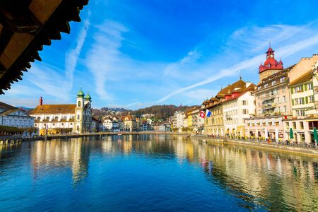 Old town buildings and bridge in Lucerne city, Switzerland Stockfoto