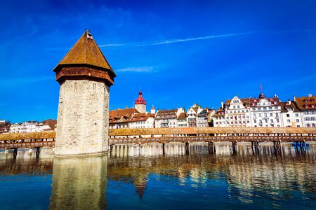 Kapellbrucke historic Chapel Bridge made by wood and waterfront landmarks in Lucerne