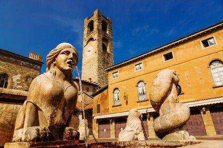 Contarini fountain on Piazza Vecchia, Citta Alta, Bergamo, Italy