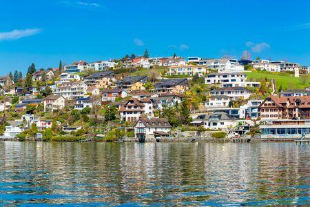 View at town Weggis from Lucerne lake in Switzerland 版權商用圖片