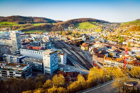 View of the Baden City and Ennetbaden in canton Aargau from the castle hill, Switzerland 版權商用圖片