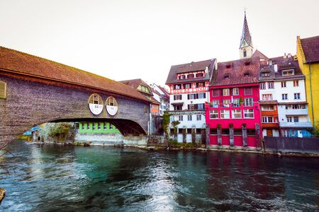 Baden old town building over the Limmat river, canton Aargau, Switzerland