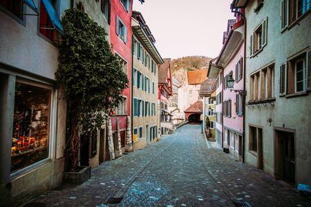 Old town street in medival city of Baden, canton Aargau in Switzerland