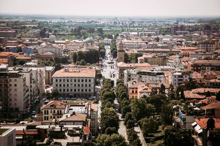Bergamo city panorama seen from Cita Alta in Italy 版權商用圖片