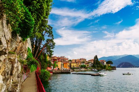 Alley along Lake Como in Varenna town, Lombardy region, Italy Stockfoto
