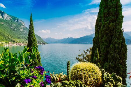 Amazing view of Lake Como in Lombardy region, Verenna city, Italy