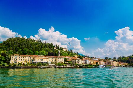 Bellagio town seen from the Lake Como, Lombardy region in Italy Stockfoto