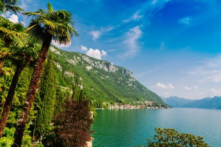 Amazing view of Lake Como in Lombardy region, Verenna city, Italy Stockfoto