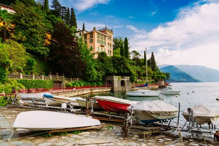 Small boat marina on Lake Come, Varenna town in Italy