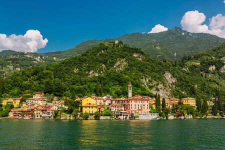 Colorful Varenna town seen from the Lake Como, Lombardy region in Italy Stockfoto