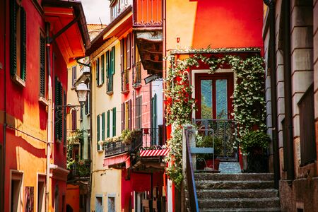 Colorful italian architecture in Bellagio town, Lombardy region in Italy