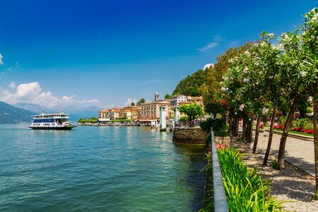 View of Lake Como shore in Bellagio town, Lombardy region in Italy