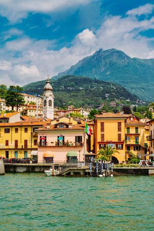 Menaggio town seen from the Lake Como, Lombardy region in Italy Stockfoto