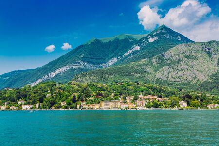 Shore of Lake Como seen form the boat, Lombardy region in Italy