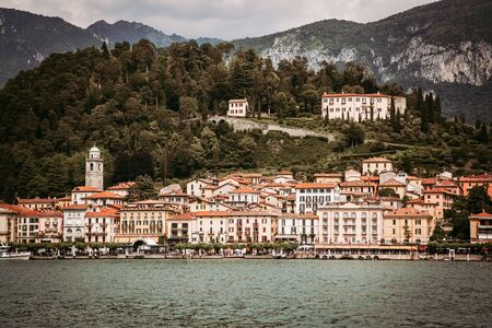 Filtered image of Bellagio town seen from Como Lake in Italy