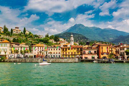 Menaggio town seen from the Lake Como, Lombardy region in Italy 版權商用圖片