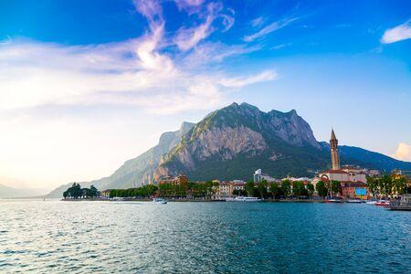 Como Lake shore in Lecco city, Lombardy region in Italy
