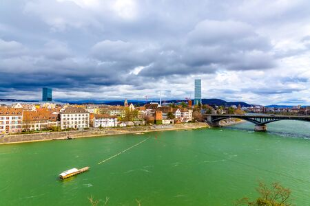 Basel architecture along Rhine River and river crossing in Basel, Switzerland. Stockfoto
