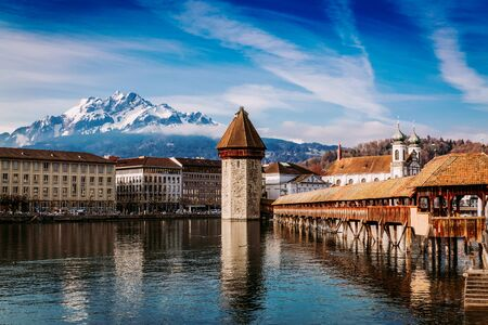 Kapellbrucke historic Chapel Bridge and Water Tower landmarks in Lucern, Switzerland