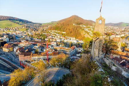Old ruins of the mediaval Stein castle in Baden, Switzerland