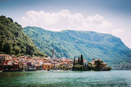 Filtered image of Varenna town seen from Como Lake, Italy Stockfoto