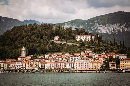 Filtered image of Bellagio town seen from Como Lake, Italy