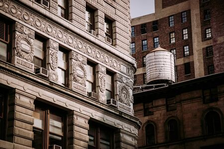 Water tunk on the New York building with ornamental facade