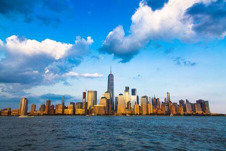 Lower Manhattan panorama and Hudson River taken from Yersey City during sunset, New York City