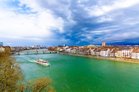The ferry follows the Rhine River in the city of Basel in Switzerland