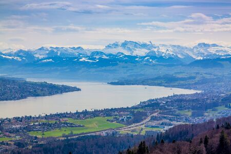 Panorama of Zurich city and lake from Uetliberg mountain in Switzerland