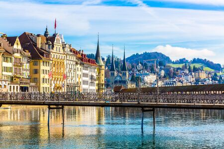 Old town buildings over Reuss river in Lucerne city inSwitzerland Stockfoto - 131311703