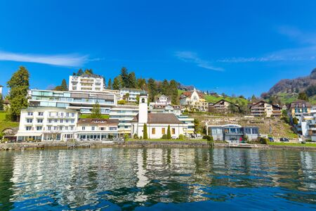 View at town Weggis from Lucerne lake in Switzerland Stockfoto