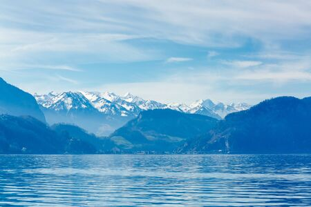 Mountains over the Lucerne Lake, Switzerland, Europe