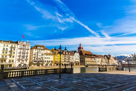 Old town buildings over Reuss river in Lucerne city inSwitzerland Stockfoto