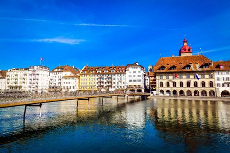 Old town buildings over Reuss river in Lucerne city in Switzerland Stockfoto - 131315755