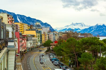 Montreux city panorama at winter time, Switzerland
