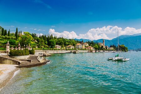Shore of Lake Como in Tremezzo Town, Lombardy region in Italy