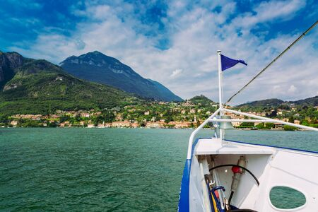 Menaggio town seen from ferry on the Lake Como, Lombardy region, Italy Stockfoto