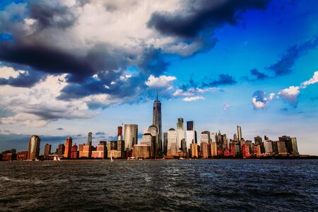 Lower Manhattan panorama and Hudson River taken from Yersey City during sunset, New York City