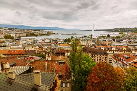 Geneva, Switzerland: city and lake view seen from St. Peter's Cathedral tower, Europe