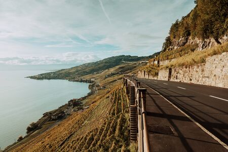 Lavaux, Switzerland: Motorway with stunning mountain view next to lake Geneva, Canton of Vaud Banco de Imagens