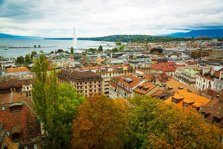 Geneva, Switzerland: city and lake view seen from St. Peters Cathedral tower