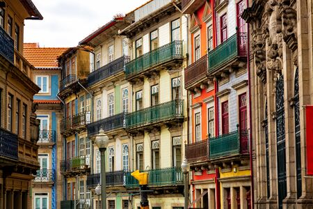 Historical architecture of Rua Das Flores street in Porto city, Portugal