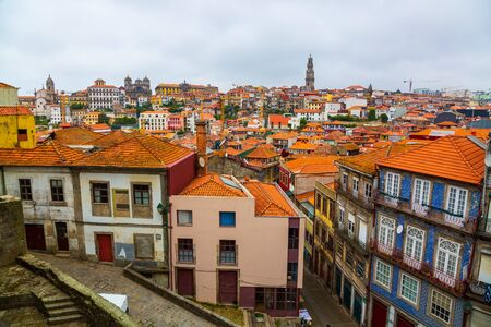 Beautiful panorama of old town historical buildings of Porto, Portugal