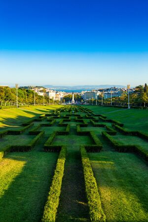 Eduardo VII park located in city of Lisbon, Portugal Banco de Imagens