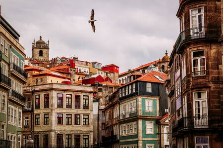 Old town buildings in Vitoria district in Porto city, Portugal Banco de Imagens