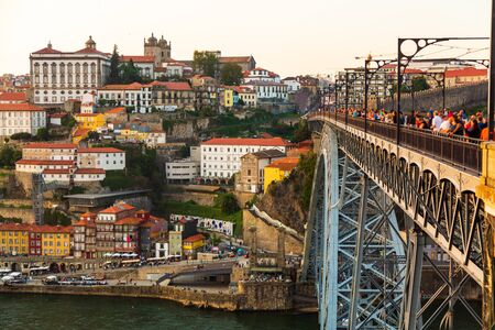 Porto, Portugal, picturesque view at Riberia old town and Ponte de Dom Luis bridge over Douro river.