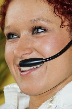 sneer: Beautiful young women on line Stock Photo